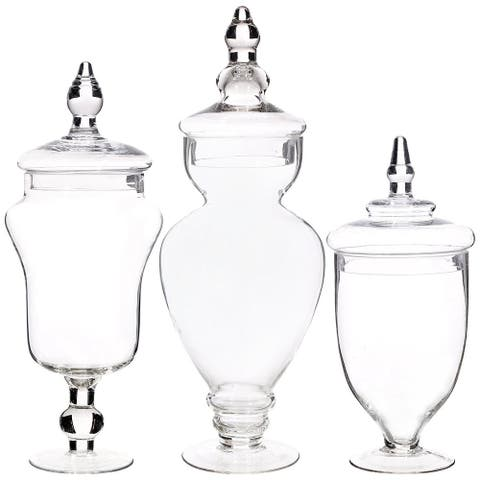 Palais Apothecary Jars - Set of 3 - Wedding Candy Buffet Containers, Large, Clear - Large