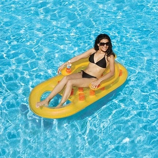 "61"" Orange and Yellow Inflatable Swimming Pool Lounger with Dual Drink Holders"