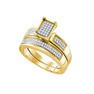 1/4Ctw Diamond Micro Pave Bridal Engagement Ring 10K Yellow-Gold