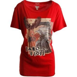 Denim & Supply Ralph Lauren Womens Cotton Graphic T-Shirt