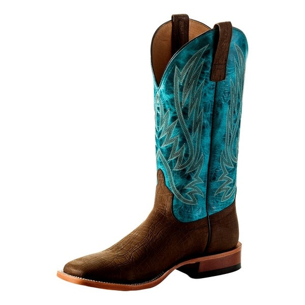 Horse Power Western Boots Mens Weave Leather Square Red Bone