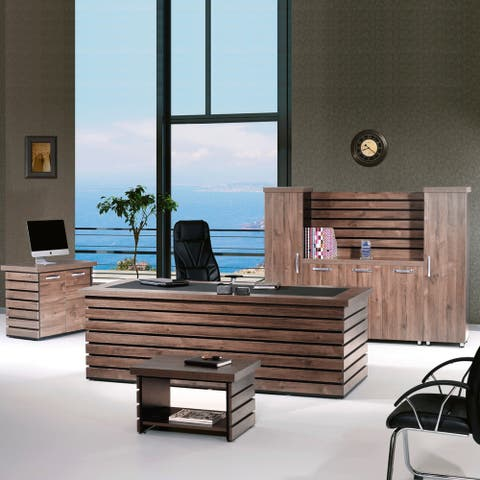 "Modern Elise 4 Piece Desk Office Suite Furniture Set 87"""