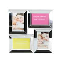 """13.75"""" White Trimmed Glass Encased Photo Picture Frame Collage Wall Decoration"""