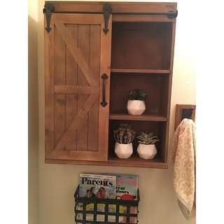 Kate and Laurel Cates Decorative Wood Cabinet with Sliding Barn Door - 22x28