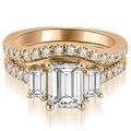 2.00 cttw. 14K Rose Gold Lucida Three-Stone Diamond Emerald Cut Bridal Set - Thumbnail 0