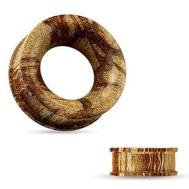 Concave Hollow Organic Root Wood Double Flat Flare Tunnel (Sold Ind.)