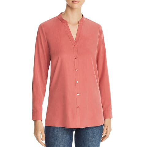 Eileen Fisher Womens Blouse Stand Collar Button Front - Chuty