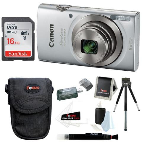 Canon PowerShot ELPH 180 Digital Camera (Silver) with 16GB Card Bundle