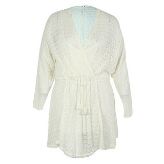 Free People Women's Faux Wrap Wool Blend Dress - Ivory - l