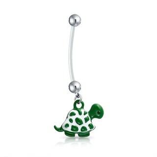 Bling Jewelry Bioflex Green Enamel Turtle Pregnant Belly Ring 316L Steel