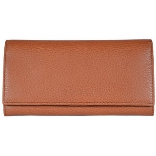 "Gucci Women's 346058 Saffron Tan Leather Continental Bifold Wallet - 7.5"" x 4"" x 1"""