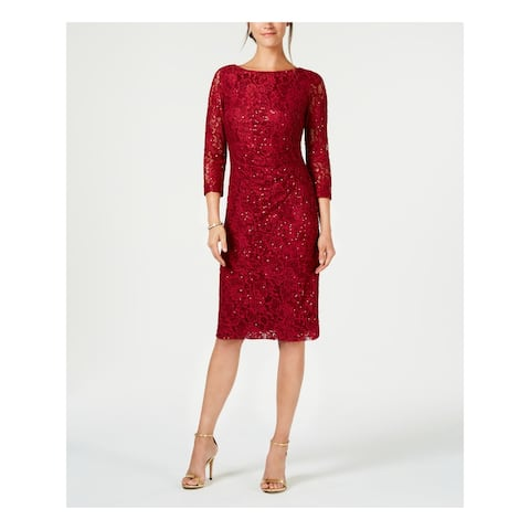 JESSICA HOWARD Red Long Sleeve Below The Knee Sheath Dress Size 4P