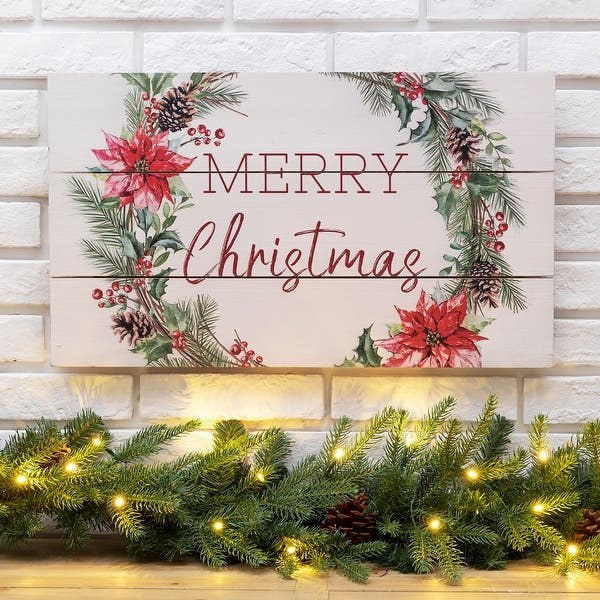 Glitzhome 24 L Wooden Merry Christmas Wall Decor Overstock 31762404