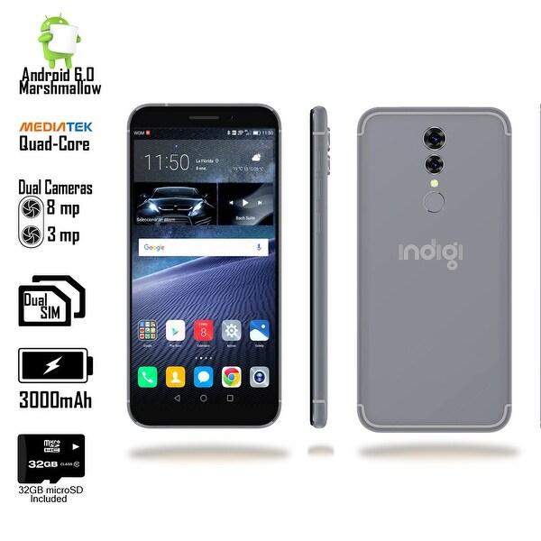"4G LTE GSM Unlocked 5.6"" SmartPhone by Indigi (4Core @ 1.2GHz + Android Marshmallow + Fingerprint+ 32gb microSD) Black"
