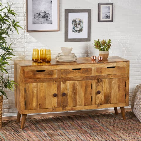 Palermo Boho Mango Wood 3 Door Sideboard with 3 Drawers by Christopher Knight Home
