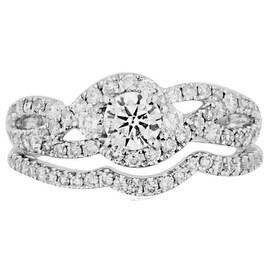 14K White Gold Bridal Wedding Ring Set 1.00ctw Diamonds Round 0.30ctw Solitaire 9mm Wide 2pc (i2/i3, i/3)