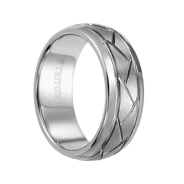 HARLAND Alternating Grooved Men's Tungsten Domed Wedding Ring with Offset Grooves by Triton Rings - 8mm