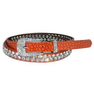 CTM® Women's Skinny Croc Print Rhinestone Belt (Option: Orange - Small / Medium)