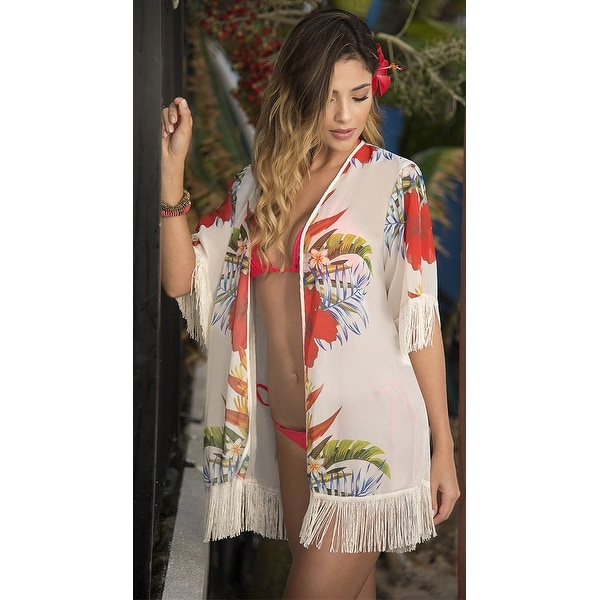 53d36a4cb34c9 Shop Yandy Tropical Kimono Cover-up - White - Free Shipping On Orders Over  $45 - Overstock - 21023293