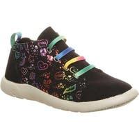 Bearpaw Girls' Gracie High Top Sneaker Black Print Microsuede