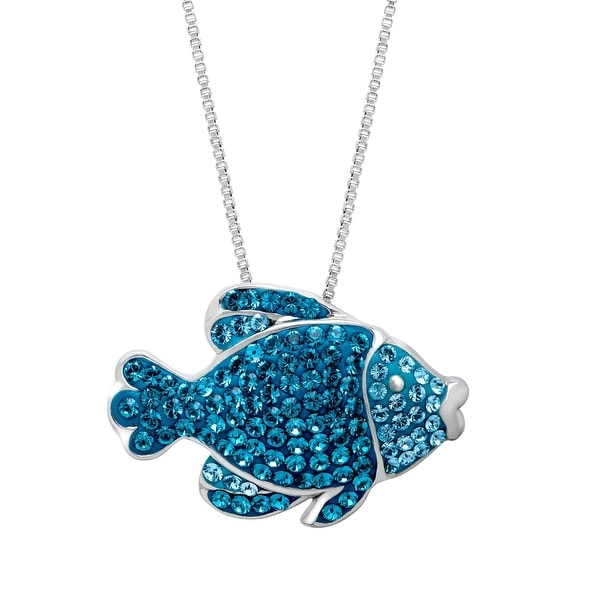 Crystaluxe Fish Pendant with Sky Blue & Indicolite Swarovski Elements Crystals in Sterling Silver - Teal
