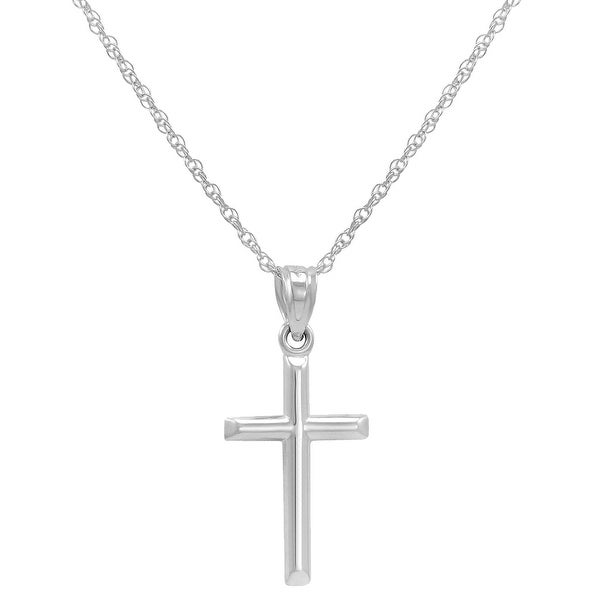 Amanda Rose 14k White Gold Cross Pendant Necklace on an 18 in. chain