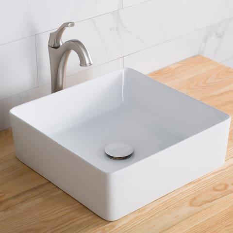 KRAUS 15 5/8 inch Viva Square White Ceramic Vessel Bathroom Sink