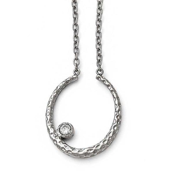 Chisel Stainless Steel Polished and Textured CZ with 2in ext. Necklace - 18 in
