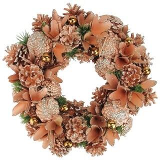 """13.5"""" Orange Autumn Harvest Pine Cone Artificial Thanksgiving Wreath - Unlit"""