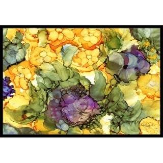 Carolines Treasures 8958JMAT Abstract Flowers Purple & Yellow Indoor or Outdoor Mat 24 x 36 in.