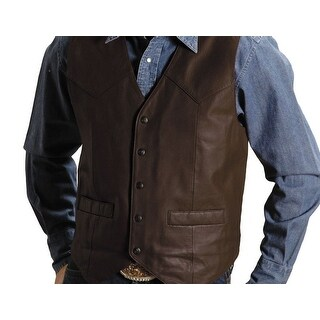 Roper Western Vest Mens Leather Chocolate Brown