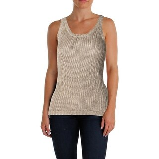 Lauren Ralph Lauren Womens Petites Sweater Vest Linen Blend Scoop Neck