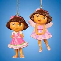 "Club Pack of 24 Dora the Explorer Fairy Dora and Dora in Pink Dress Christmas Ornaments 3.5"""