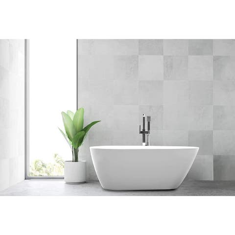 """Vanity Art 67"""" Freestanding Acrylic Bathtub Stand Alone Soaking Tub with Polished Chrome Slotted Overflow & Pop-up Drain"""
