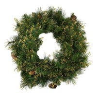 "24"" Mixed Pine Glittered Pine Cone Artificial Christmas Wreath - Unlit - green"