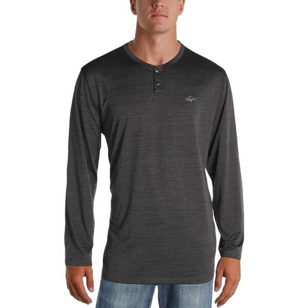 Greg Norman Mens Henley Shirt Space Dye Long Sleeve - XL