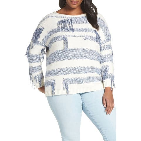 Vince Camuto Womens Fringe Detail Pullover Sweater