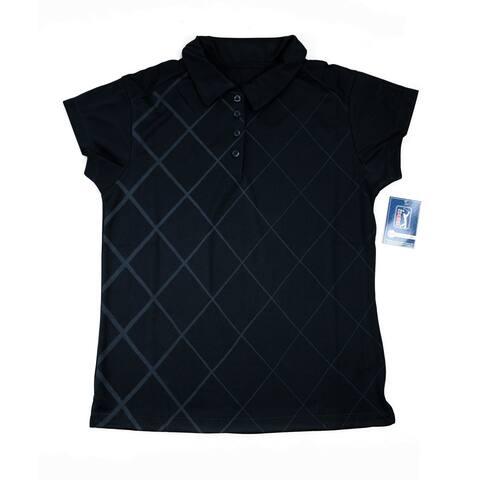 PGA TOUR Women's Polo Shirt - Black Checkered - Medium