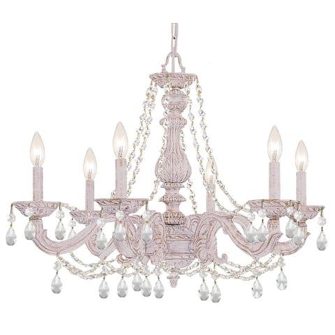 Paris Market 6 Light Clear Italian Crystal White Chandelier - 28'' W x 22'' H