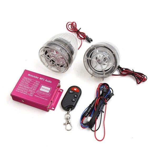 2pcs Clear Motorcycle Anti-theft Alarm Stereo Audio MP3 Amplifier Speaker Player