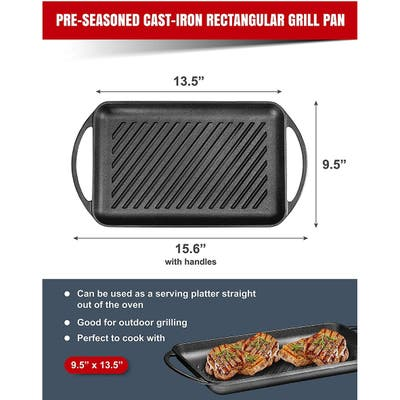 Enameled Cast Iron Rectangular Grill Pan with Loop Handles