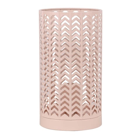"11"" Metal Accent Lamp with Chevron Design and Beautiful Finish"