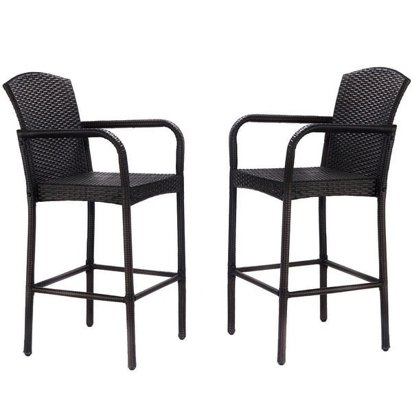 Wicker Chair Barstool Tall High Backrest Patio Furniture: Shop Gymax 2PC Rattan Wicker Bar Stool High Armrest Chair