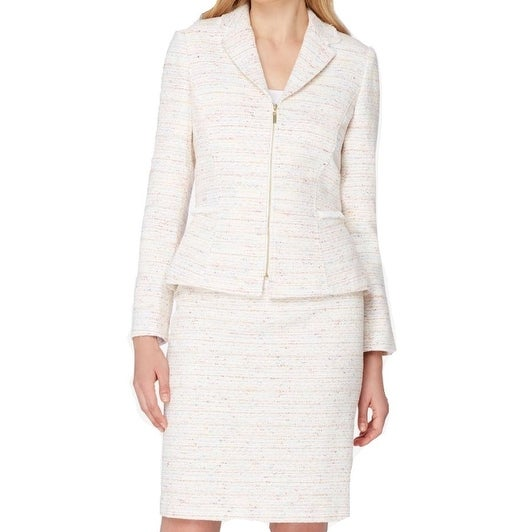 Shop Tahari By Asl New White Ivory Womens Size 14 Tweed Zip Up Skirt