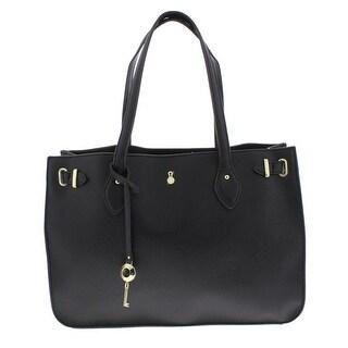 London Fog Womens Harlow Tote Handbag Signature Textured - Medium
