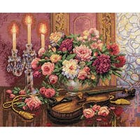 "Gold Collection Romantic Floral Counted Cross Stitch Kit-16""X13"" 14 Count"