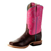 Anderson Bean Western Boots Girls Kids Square Roper Cocoa Puff