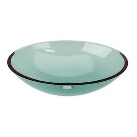 Green Glass Vessel Bathroom Oval Sink Pop-up In