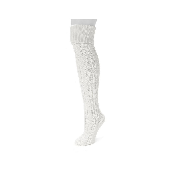Muk Luks Socks Womens Knee High Cable Pattern Cozy One Size - One size