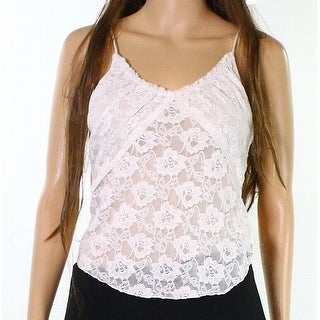 Free People NEW Ivory Womens Size Medium M Lace Illusion V-Neck Tank Top